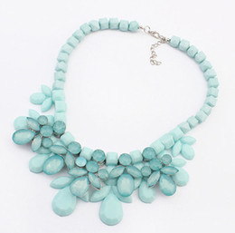Wholesale Gem Acrylic Collar - New Fashion Candy Colors Luxury Acrylic Gem Bib Collar Chokers Statement Necklace With Beaded Chain Women Jewelry