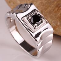 diseño de anillo de oro único hombre al por mayor-Diseño único Black Onyx Men 925 Sterling Silver Ring Blanco oro acabado regalo para el marido Múltiples tamaños de colores para la opción R520