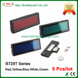 Wholesale Battery Signs - 5pcs lot 5 colors LED Name Badge Scrolling Tag Mini Message Board Sign 7x29 Dots EU Languages,Without Software,come with CR2032 Battery