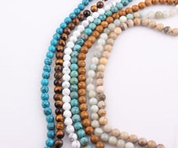 Wholesale Natural Turquoise Round Beads 8mm - 8mm Natural Howlite Turquoise Stone Round Loose Beads Tiger Eye Natural Stone Beads for Bracelet Necklace Making ZBE218