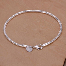 Wholesale jewelry sale 925 - Newest style Fashion Jewelry 925 Silver 3MM Smooth snake chain Bracelet 8.0inch 20inch 10pcs lot Hot sale free shipping