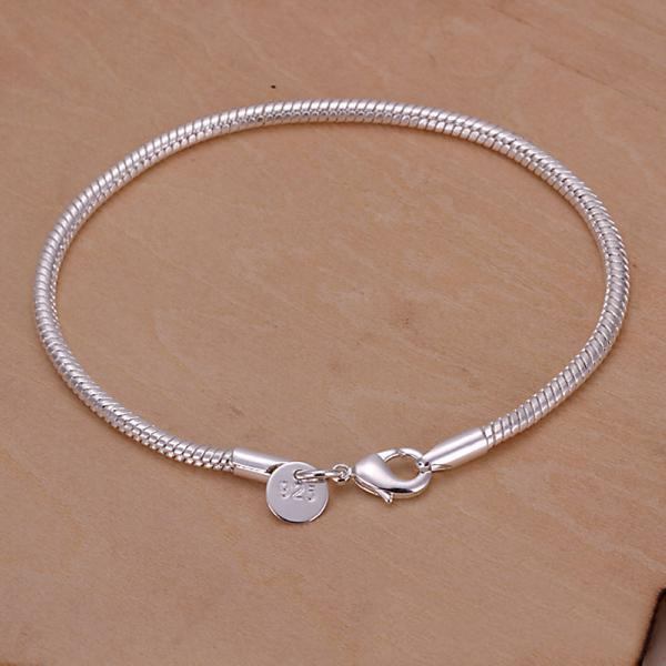 best selling Newest style Fashion Jewelry 925 Silver 3MM Smooth snake chain Bracelet 8.0inch 20inch 10pcs lot Hot sale free shipping