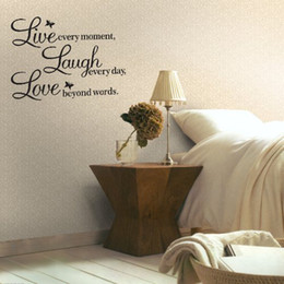 Wholesale Live Laugh Love Wall - Live Every Moment, Laugh Every Day, Love Beyond Words Life Vinyl Wall Stickers Quotes for Home Decor