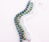 Wholesale Natural Stone Mixed Gemstone - 10mm Natural Stone Beads Round Spacer Turquoise Beads Semi Precious Gemstone Beads fit Europe Bracelet Mix Colors ZBE216