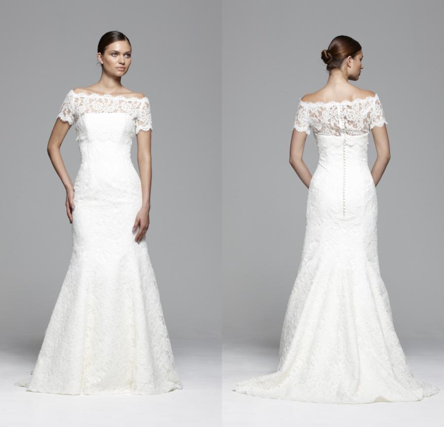 Свадебные платья лодочкой фото