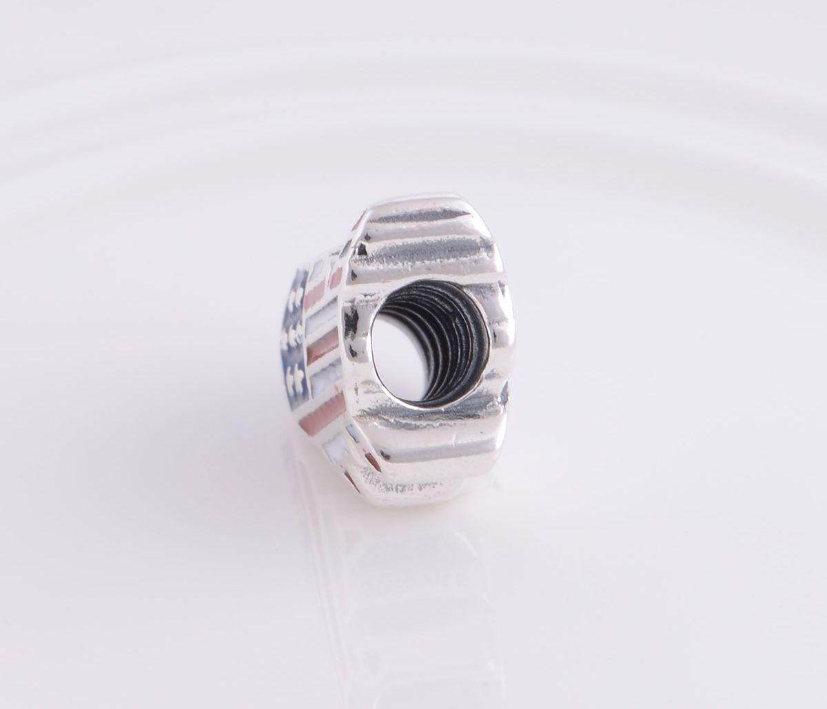 Autentico 925 Sterling Silver US Nation Icon Bead Adatto europeo Pandora Jewelry Charm Beads Braccialetti