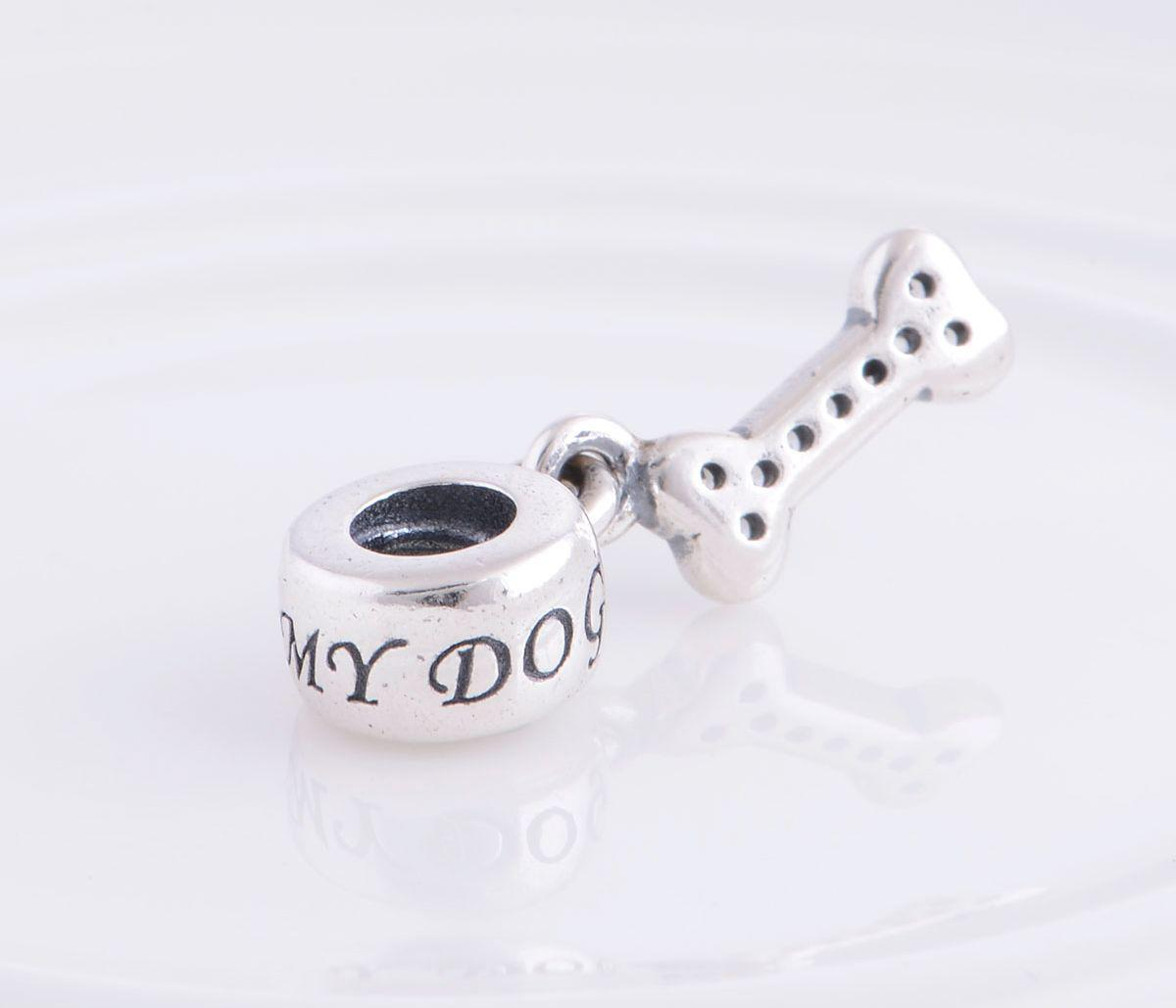 Autentisk 925 Sterling Silver Dog Bone Dangle Pead Passar European Pandora Smycken Charm Pärlor Armband