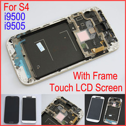 Wholesale Display S4 Blue - S4 I9500 LCD Touch Screen Digitizer Assembly With Frame Blue White Replacement For Samsung Galaxy S4 I9500 Original Display lcd Touch Screen