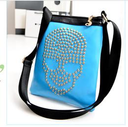Wholesale Atmosphere Handbags - Wholesale 7 color 2014 European and American fashion handbags shoulder bag skull atmosphere Korean wild street style orange bag