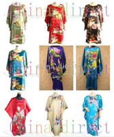 Wholesale Womens Floral Silk Robe - Ladies womens Rayon Silk Satin Pajama Lingerie Sleepwear Robe Kimono pjs 10pcs lot