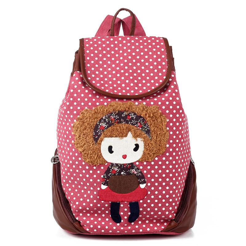 Cute Backpacks Backpack Female Canvas Casual Cartoon Lilliputian ...