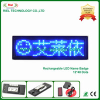 Wholesale Display Bowl - 1pcs lot,Bowling badge led name badge scrolling sign display,Blue color,Taking on upper clothes and T-shirts Multi-languages 90mm