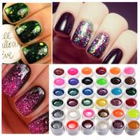 Wholesale Shiny Nail Art Design - 36pcs Lot Colors Glitter Shiny Nail Art Tips Decoration Manicure Design Powder UV Gel