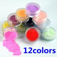Wholesale Uv Gel Acrylic Design 3d - Wholesale 12 Colors Nail Art Design Decoration Tips Acrylic 3D UV Gel Powder Dust