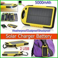 Wholesale Solar Panel Batteries Wholesale - Weatherproof Dustproof 5000mAh Solar Charger and Battery Solar Panel Dual USB power bank External Battery for Cellphone Laptop MP4 Mobile