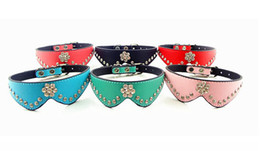 Wholesale Flower Puppies - Free shipping pet dog puppy luxury bling collar flower Crystal Bow Tie Collars six colors 10pcs lot