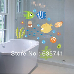 Wholesale Tropical Fish Stickers Decals - Tropical Fish Bubble Wall Sticker Kids Room Nursery Kitchen Bathroom Wall Decal Free Shipping