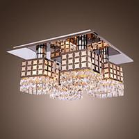 lampara de perla negra al por mayor-Lámpara LED de acero inoxidable moderna lámpara de luz de techo lámpara de araña patrón de Gein con 4 luces envío gratis
