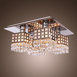2019 lámpara de techo de cristal anillo de luz moderna Lámpara LED de acero inoxidable moderna lámpara de luz de techo lámpara de araña patrón de Gein con 4 luces envío gratis