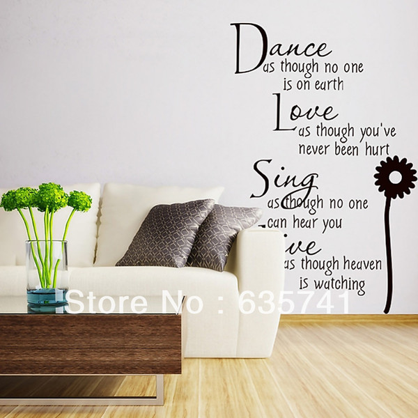 Black Vinyl Quote Motto Poem Words Door Wall Mural Decal Sticker