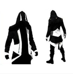 Wholesale Hoodies Buttons Men - Hot Sale Custom handmade Fashion Assassins Creed 3 III Connor Kenway Hoodies Costumes Jackets Coat 10 colors choose direct from factory