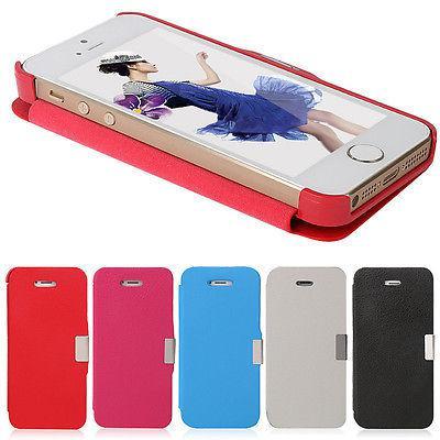 Vendita calda per iPhone 4 4S 5 5S Metallo Magnetic Flip Custodia rigida Custodia in pelle
