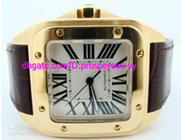 Wholesale Solid Gold Wrist Watches - Hot sale Rare X Large 100 18k SOLID Gold Automatic Men's Watch Leather Band Mens Sport Wrist Watches