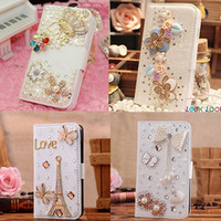 Wholesale Iphone 4s Cover 3d Crystal - Hot Sale Luxury 3D Bling Crystal Rhinestone Flip Wallet PU Leather Case Cover for apple iphone 4 4S 5 5S