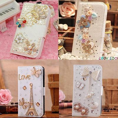 Hot Sale Luxury 3D Bling Crystal Rhinestone Flip Wallet PU Leather Case Cover for apple iphone 4 4S 5 5S