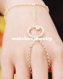 Wholesale Thin Metal Rings - WOMEN GOLD THIN METAL FASHION HAND CHAIN BRACELET WRIST TO SLAVE RING MIDI ROUND