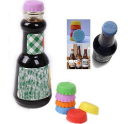 Wholesale Silicon Bottle Lid - Mix color silicone Retail 12pcs lot Fashion Colorful Novelty Silicon Bottle Lid   Beer Lid NP304