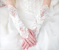 weiße fingerlose handschuhe stickerei großhandel-33CM lange weiße Brauthandschuhe knospen silk Stickerei Hochzeitsschmucksachen reine weiße fingerless Handschuhe freies Verschiffen