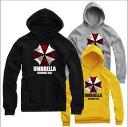 Wholesale Biohazard Costume - Free shipping NEW Biohazard logo printed hoodie Umbrella Corporation Corp Logo Resident Evil Costume Pullover hoddies 9 color