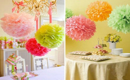 Wholesale Hanging Paper Flower Decorations - Wedding party home Decorations Paper Peony Flower ball hanging flower ball wedding car decor 9 color to choose free shipping