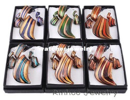 Wholesale Earring Murano - 6boxes twist gold dust lampwork murano glass necklace earrings jewelry sets NO.W29469Y66