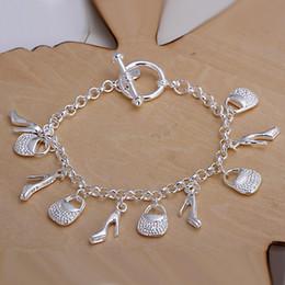 925 Bracelet Shoes Canada - Ten Charms Handbag Shoe Pendant bracelets bangles nice Jewelry 925 sterling silver H108 Pulseira de Prata