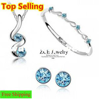 Wholesale Sell Swarovski Necklace - Made with Swarovski elements Top selling Asustrian crystal jewelry sets Necklaces bangles Earrings Free shipping