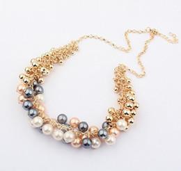 Wholesale Multilevel Necklace - The Korea Vintage Retro Style Multilevel Imitation Pearl Necklace Women Choker Necklace