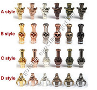 Wholesale Cow Skulls Wholesale - Metal Drip Tip 510 Mouthpiece Skull Cow boy Mini Skull Drip tip Bull Rose Drip tips for stainless steel aluminum acrylic E Cigarette