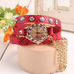 Wholesale Sparkling White Quartz - Fashion new Sparkling Rhinestone Synthetic Leather Sling Chain Quartz Watch Women Wristwatches 8 colors 50pcs Free DHL Fedex EMS shipping