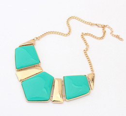 Wholesale Gemstone Statement Necklace - Womens Big Acrylic Gemstone Necklaces Resin Statement False Collar Necklace Jewelry S98903