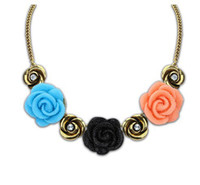 Wholesale Vintage Acrylic Rose Jewelry - Vintage Style Red Rose Red Choker Short Collar Necklace 2014 For Women Party Jewelry S901073