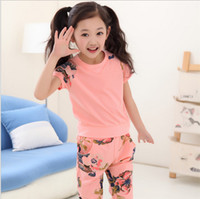 Wholesale flower harem for sale - summer Children girl s fashion cotton suits T shirt short pants kid set Solid Tee Floral print Harem Pants