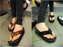 Wholesale Paillette Sandals - Hot sale New Style Paillette Ladies Flip Flop Fashion Women Sponge Slippers Beach Sandal Shoes