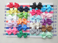 "Wholesale Grosgrain Hair Bands - 100 pcs hair accessories kids bows flower Baby Elastic Headbands soft stetch hair band with 3"" baby grosgrain ribbon Bowknot SG8501"