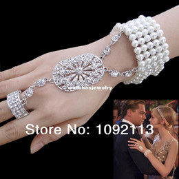 Wholesale Great Pearl Earring - The Great Gatsby Movie Bracelet Ring Set Pearl Wedding Party Rings Stretch Made with Swarovski Elements Crystal Free Shipping