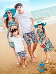 Wholesale Korean Boys Dressing - 2014 Summer Bohemia Printed Family Clothing Boys Girls Dad Mom Korean Style Cloth Mom Girl Sleeveless Dress Dad Boy Short Sleeve Sets I0864