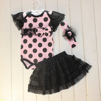 Wholesale Skirt Band Baby - 2014 Summer New style Baby Girls Rompers Set Climb clothes + Hair band + TUTU Skirt 3pcs Infant Suit Baby Clothing 3M-24M 6sets lot TX533