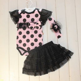 short hair styles girl NZ - 2018 Summer New style Baby Girls Rompers Set Climb clothes + Hair band + TUTU Skirt 3pcs Infant Suit Baby Clothing 3M-24M 6sets lot TX533