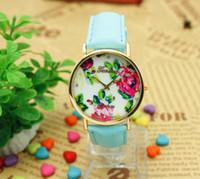 Wholesale Vintage Watches For Sale - HOT Sale Chinese Element Vintage Flower Dial Women Dress Watch New Fashion Leather GENEVA Rose Watch for Women Quartz Watches 100PCS